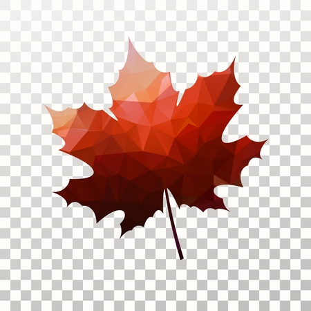 Vector maple leaf with red triangles texture. Tree leave silhouette on transparent background. Negative space design element