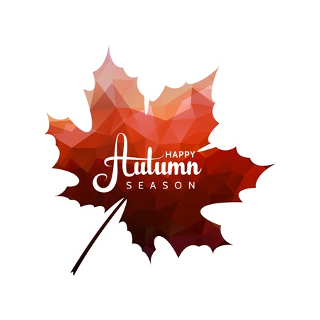 Vector maple leaf with red triangles texture and abstract text isolated shape. Autumn sale design element tree leaves on white background Stock Illustratie