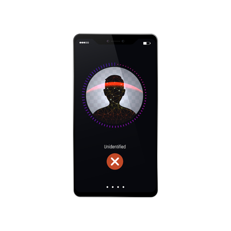 Face recognition process failed vector illustration. Glitch in the system identify the user Isolated mobile phone on white background Stock Photo