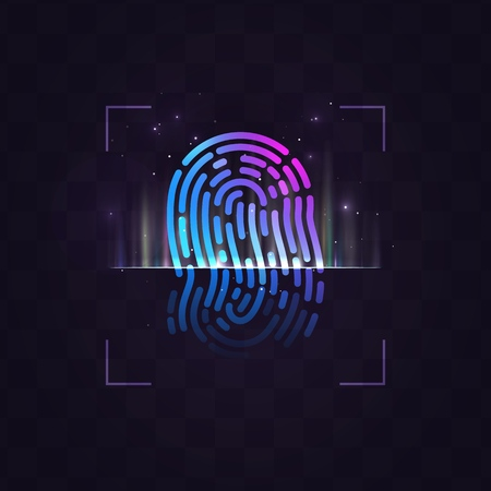 Abstract vector fingerprint recognition system illustration on dark background with light effects. Finger print processing EPS10 Ilustrace