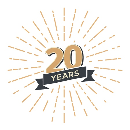 20 th anniversary retro vector emblem isolated template. Vintage logo Twenty years with ribbon and salute on white background Banque d'images - 114661214
