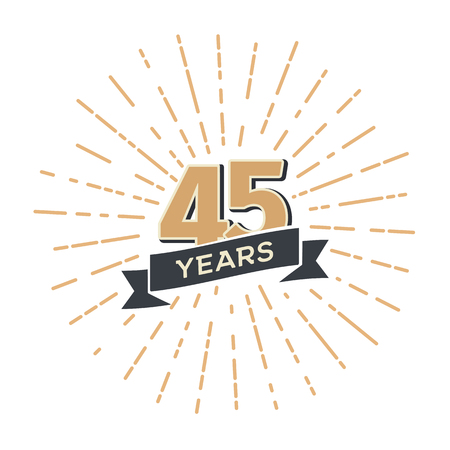Forty five anniversary retro vector emblem isolated template. Vintage logo fourty fifth 45th years with ribbon and fireworks on white background