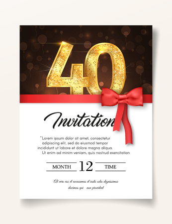 Wedding Invitation card template to the day of forty fortieth years anniversary with abstract text vector illustration. Invite to 40 th years eve jubilee