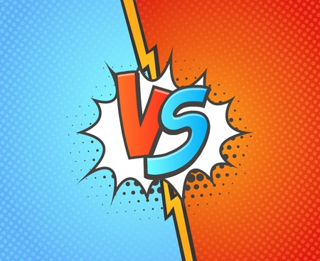 Versus battle background template vector illustration. Blue vs red with explosion cloud pop art style Ilustração