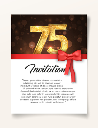 Wedding Invitation card template to the day of the seventy-five anniversary with abstract text vector illustration. Invite to 75 th years eve jubilee