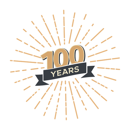 One hundred anniversary retro vector emblem isolated template. Vintage logo hundredth 100th years with ribbon and fireworks on white background