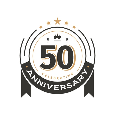 Plantilla de logotipo vintage de cumpleaños al emblema de vector aislado retro del círculo del 50 aniversario. Insignia de cincuenta años sobre fondo blanco.