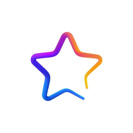 Isolated rainbow gradient colorful star logo on white background Illustration