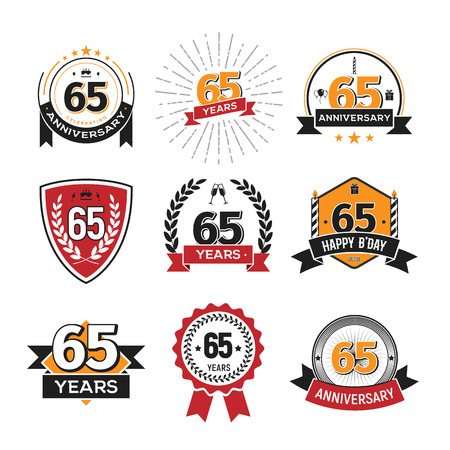 Collection of retro 65 th years anniversary logo. Set of Isolated vintage icons of sixty-five years celebrating vector illustration Иллюстрация