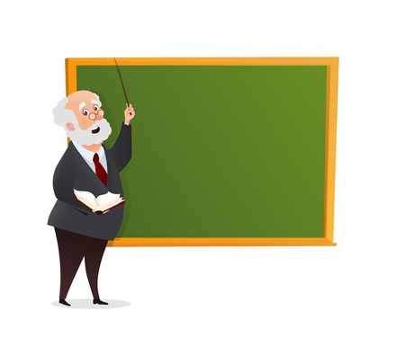 Vector teacher character at the chalkboard isolated vector illustration. The Professor gives a lecture near the blackboard with a book and a pointer in his hands