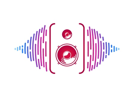 Vector sounds speaker with loudsound visualization isolated vector music equipment. sound power on white background