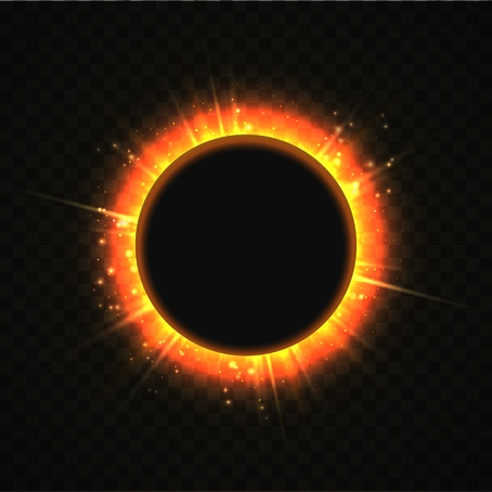 Vector illustration of solar Eclipse. Blackhole and explosion sunny rays on transparent background. Sun blackout  イラスト・ベクター素材