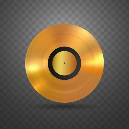 Vector vinyl disc music award isolated design element. Plastic golden disk on transparent background. Illustration