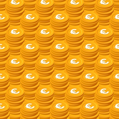 Stacks of gold coins vector seamless pattern. Isometric golden euro chips