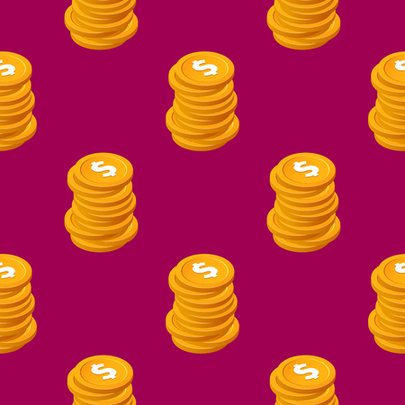 Stacks of cent bucks gold coins vector seamless pattern. Isometric golden usd money chips on purple background
