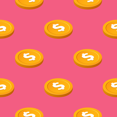 Gold cent bucks coins vector seamless pattern. Isometric golden usd money chips on pink background 일러스트