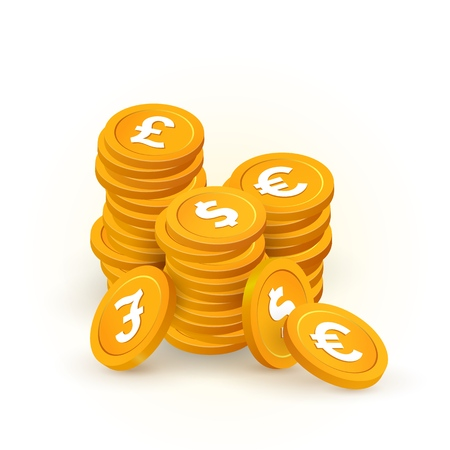 Gold stacks of coin with pound, dollar, euro signs isolated vector design elements. Collection of different international currency on white background. Vecteurs