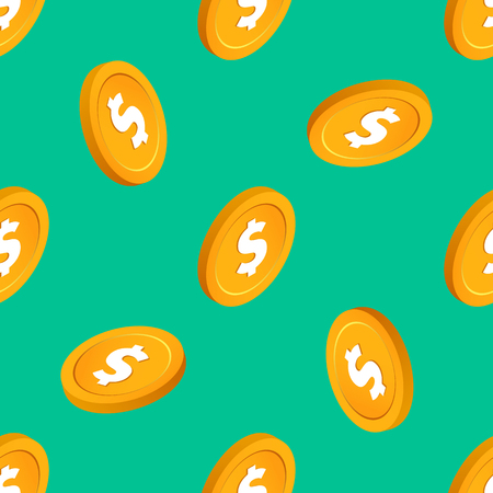 Falling gold cent bucks coins vector seamless pattern. Isometric golden usd money chips on mint background