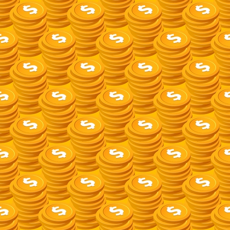 Stacks of cent bucks gold coins vector seamless pattern. Isometric golden usd money chips