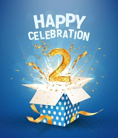 Anniversaire de deux ans et boîte-cadeau ouverte avec des confettis d'explosions. Modèle 2e anniversaire sur fond bleu vector Illustration