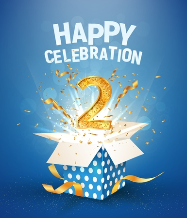 Two years anniversary and open gift box with explosions confetti. Template 2nd birthday celebration on blue background vector Illustration 免版税图像 - 126944266
