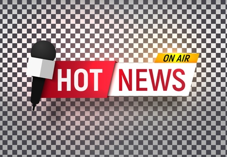 Isolated heading of Hot news. Template title bar of news on transparent background. Vector illustration Illustration