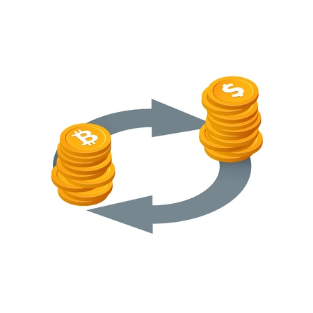 Bitcoin to dollar currency exchange, money conversion vector icon. Isolated Isometric stack of coins with arrows on white background. Financial transactions