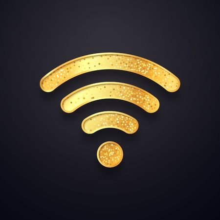 Golden wifi vector sign. Gold wi fi wireless symbol. Isolated textured wi-fi logo on dark background