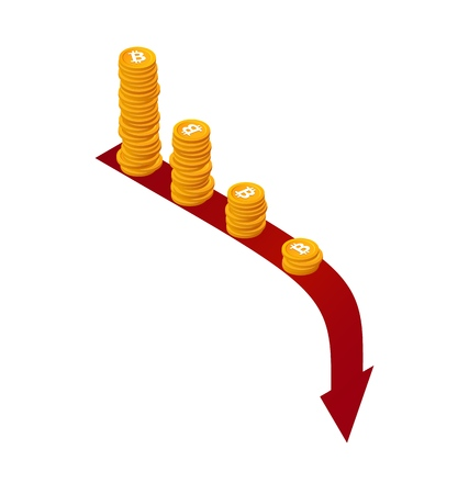 Bitcoin rate falls down vector isolated icon concept. Isometric stacks of coins on red arrow down. Financial crisis illustration
