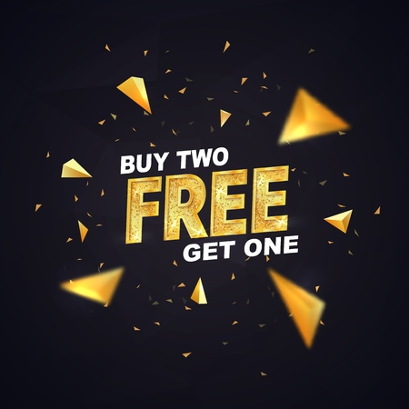 Buy two get one free on dark background vector illustration. Isolated design elements. Best offer shopping template with golden triangles  イラスト・ベクター素材