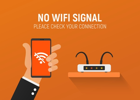 Broken router No wifi connection vector illustration. Error wireless. Disconnecting the Internet for non-payment.