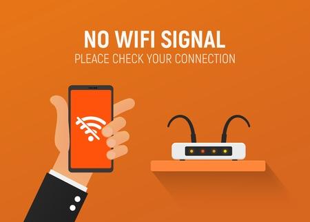 Router rotto Nessuna illustrazione vettoriale di connessione wifi. Errore wireless. Disconnessione da Internet per mancato pagamento. Vettoriali