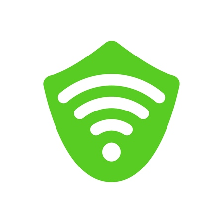 Virtual private network isolated vector icon. VPN sign on white background. Security bypass logo. Wi fi sign on green shield Illustration