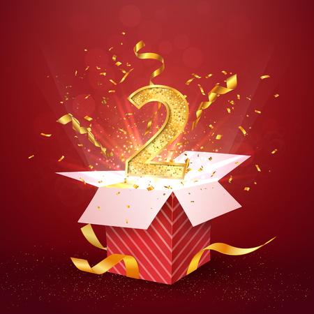 Numéro d'anniversaire de la 2 e année et boîte-cadeau ouverte avec des confettis d'explosions. Modèle deux deuxième anniversaire sur fond rouge vector Illustration.