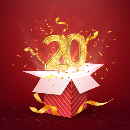 20 th years number anniversary and open gift box with explosions confetti isolated design element. Template twenty twentieth birthday celebration on red background vector Illustration.