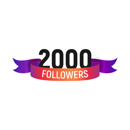 2000 followers number with color bright ribbon isolated vector icon