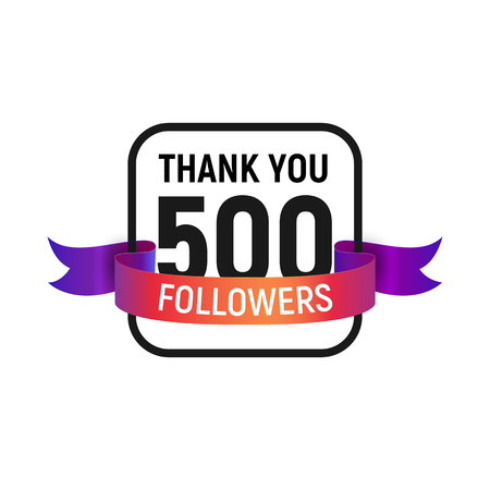 500 followers number with color bright ribbon isolated vector icon