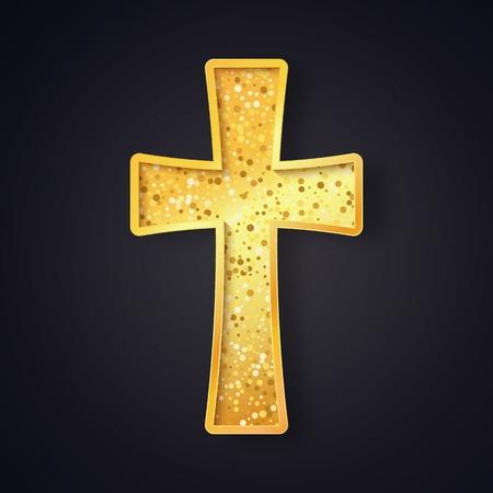 Textured gold catholic cross isolated vector object on dark background Illustration