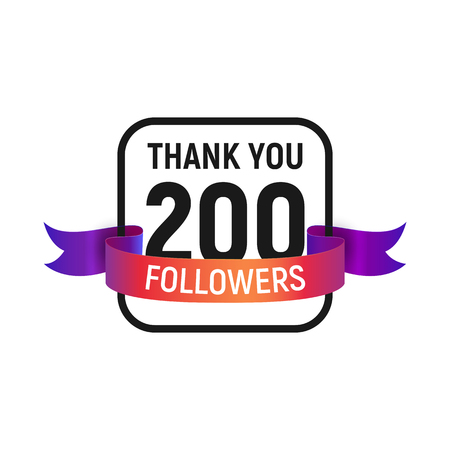 00 followers number with color bright ribbon isolated vector icon. Two hundred follower thank you
