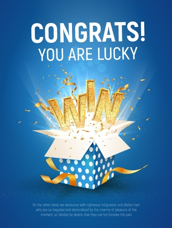 WIN gold text. Open textured blue box with confetti explosion inside and golden winning word on blue background vertical illustration.