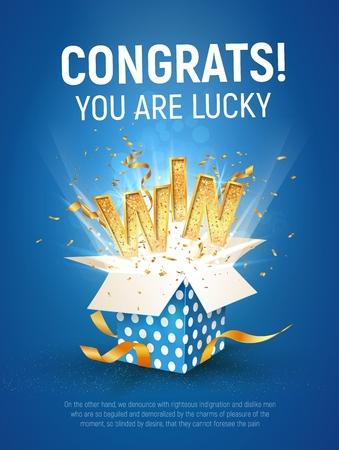 WIN gouden tekst. Open getextureerde blauwe doos met confetti explosie binnen en gouden winnende woord op blauwe achtergrond verticale afbeelding.