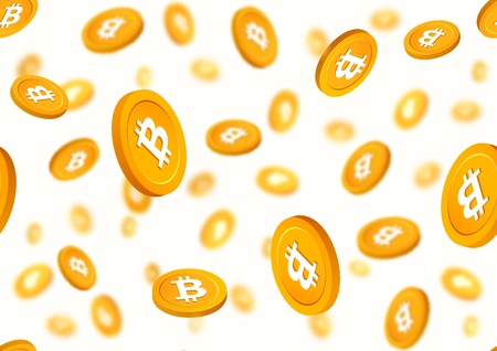 Golden coins bitcoin falling down seamless vector pattern. Cryptocurrency gold chips on white background.