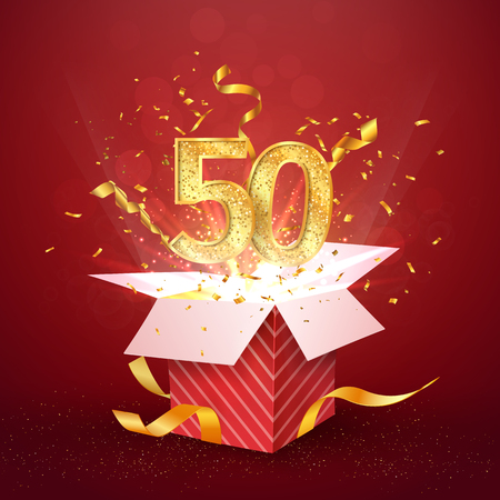 50 th years number anniversary and open gift box with explosions confetti isolated design element. Template fifty fiftieth birthday celebration on red background vector Illustration. Illustration