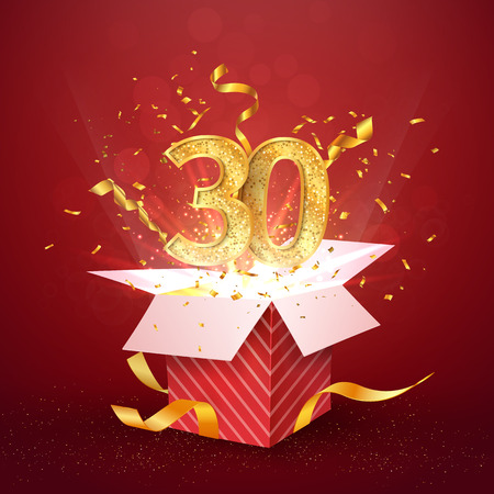 30 th years number anniversary and open gift box with explosions confetti isolated design element. Template thirty thirtieth birthday celebration on red background vector Illustration.