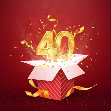 40 th years number anniversary and open gift box with explosions confetti isolated design element. Template forty fortieth birthday celebration on red background vector Illustration.