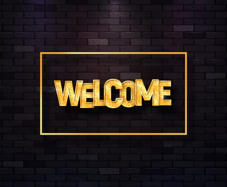 Welcome golden text in frame isolated vector illustration. Greeting shiny sign on brick wall background  イラスト・ベクター素材