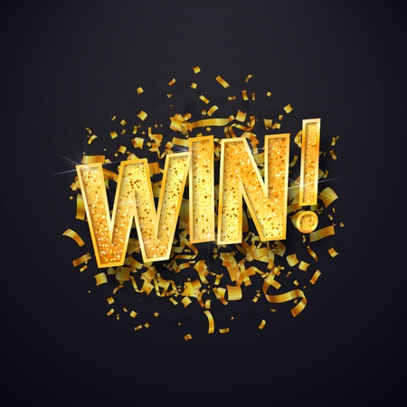 Isolated vector Win golden word with confetti explosion on