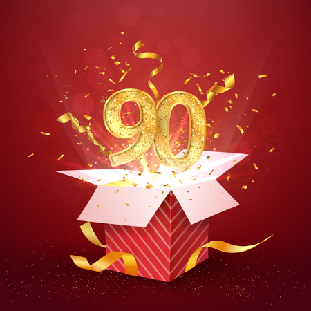 90 th years number anniversary and open gift box with explosions confetti isolated design element. Template ninety ninetieth birthday celebration on red background vector Illustration. Illustration