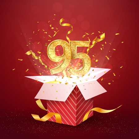 95 th years number anniversary and open gift box with explosions confetti isolated design element. Template ninety five birthday celebration on red background vector Illustration.