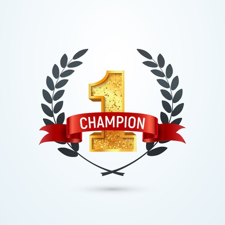 1 place champion award isolated vector icon. Winner number one red ribbon and wreath